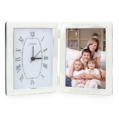 Personalised Silver Clock & 6x4 Photoframe